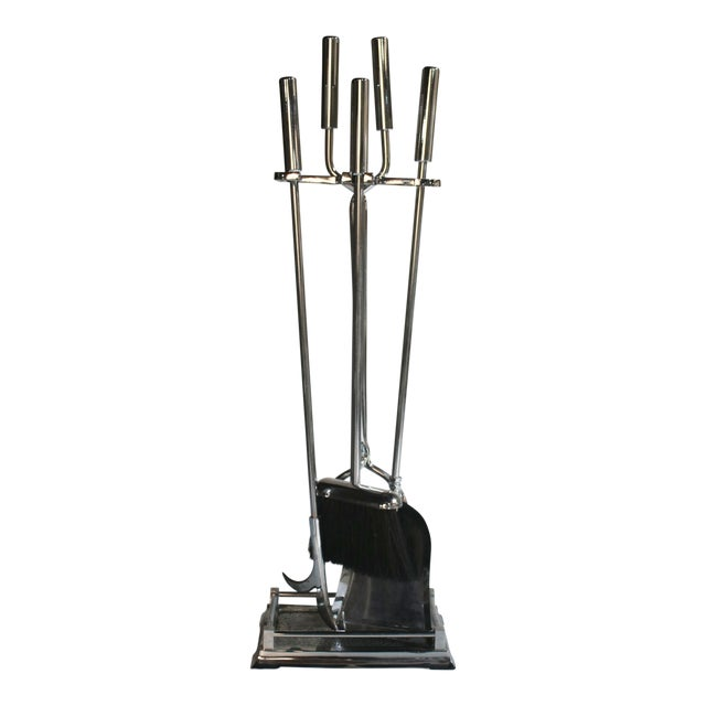Modernist Chrome Fireplace Tool Set - Image 1 of 4