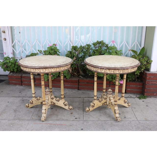 1950s Campaign Carved and Hand Painted Tall Center Tables - a Pair For Sale In Los Angeles - Image 6 of 12