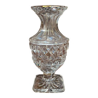 Midcentury Clear Cut Glass Vase With Geometric Pattern For Sale