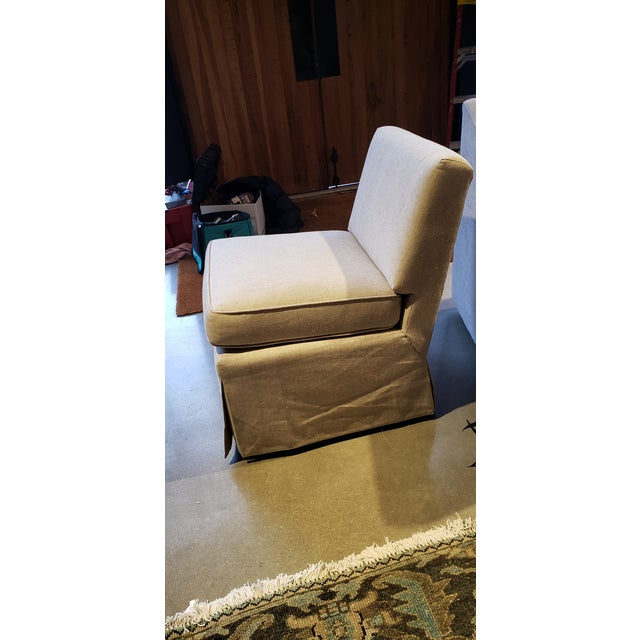 American Slipper Chair in Baldwin Linen For Sale - Image 3 of 5
