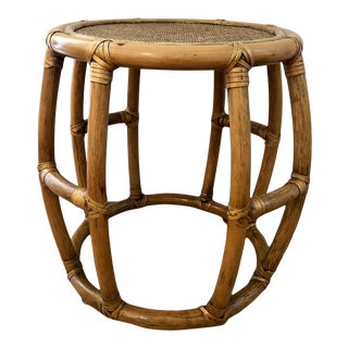 1960s Boho Chic McGuire Rattan and Bamboo Bentwood Side Table For Sale
