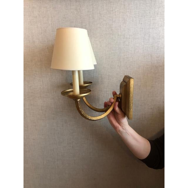Transitional Visual Comfort Flemish Double Sconce in Gilded Iron For Sale - Image 3 of 8