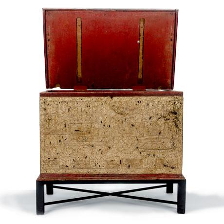 19th century teak Burmese manuscript chest. Made from teak and lacquered red with gold leaf accentuating depictions of the...