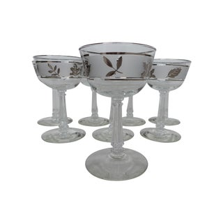 Mid-Century Silver Leaf Wine Glasses - Set of 8 For Sale