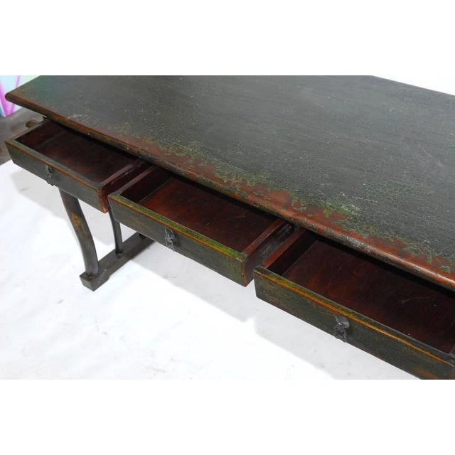 1930s Chinese Deco Lacquered Desk With Serpentine Legs For Sale - Image 5 of 9