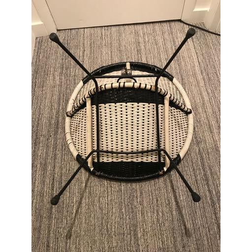 1960s Vintage Mid-Century Atomic B/W Vinyl Basket Chair For Sale - Image 5 of 13