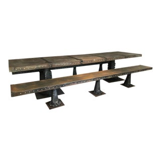 Substantial Industrial Steel Banquet Table and Benches