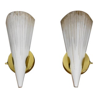 Lightolier Brass & Glass Wall Sconces - A Pair For Sale