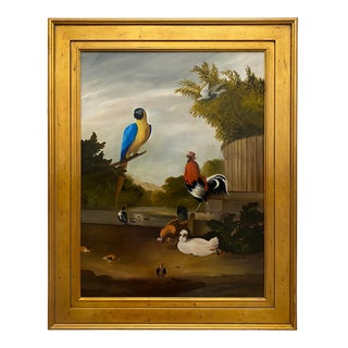 Contemporary Exotic Birds with Fowl Scene Oil Painting, Framed For Sale