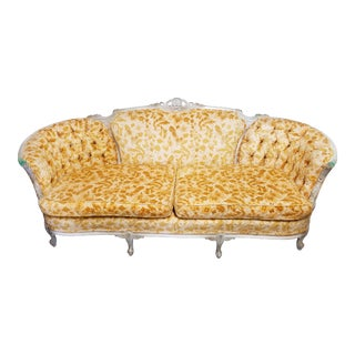 Antique French Louis XV Rococo Hand Carved Burnout Velvet Sofa For Sale