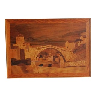 Large Italian Inlaid Wood Picture Marquetry Inlay Art Vintage Mid Century Bridge River Buildings Scene For Sale
