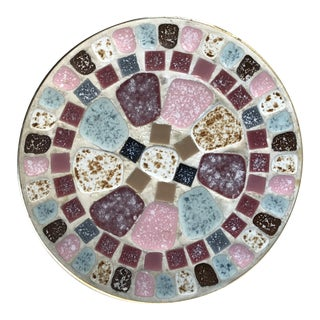 Vintage Mid-Century Modern Mosaic Tile Wall Plate Plaque Dish For Sale