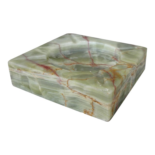 Vintage Mid-Century Modern Square Green Onyx Ashtray For Sale