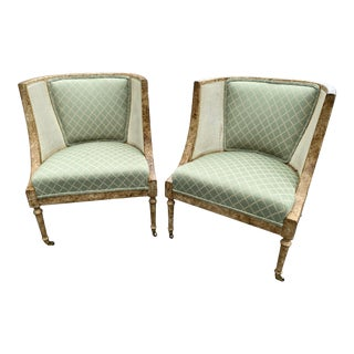 Vintage Mid Century Cane Green Chairs - a Pair For Sale