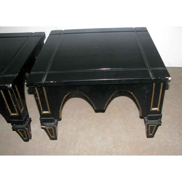 Gothic Ebonized Gothic Style End Tables - A Pair For Sale - Image 3 of 10