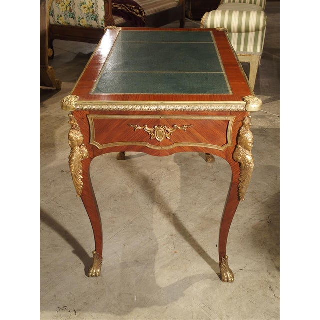 Circa 1900 French Louis XV Style Bureau Plat Writing Desk For Sale - Image 10 of 13