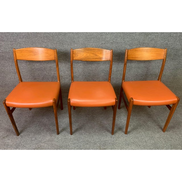 Wood Set of Six Vintage Danish Mid Century Modern Rosewood and Leather Dining Chairs For Sale - Image 7 of 13
