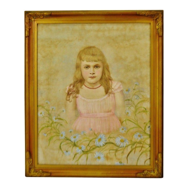 Antique Framed Victorian Style Painting on Canvas of Young Girl - Artist Signed For Sale