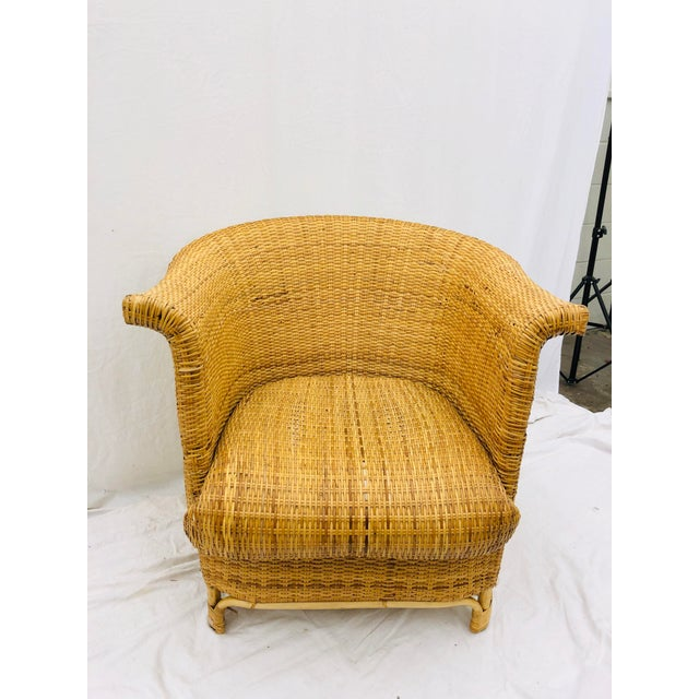 Mid 20th Century Vintage Palm Beach Chic Woven Wicker Arm Chair For Sale - Image 5 of 13