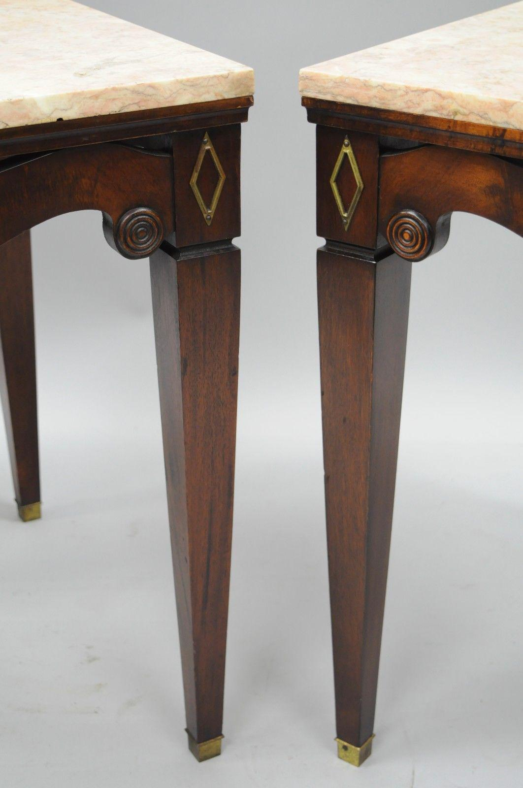 Pair of Antique Pink Marble Top Mahogany End Tables Regency Square