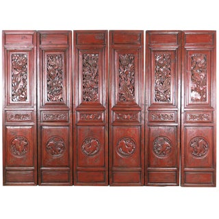 Vintage Mid 19th Century Carved Red Antique Chinese Asian Architectural Doors- Set of 6 For Sale
