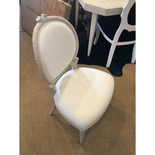 Modern Faux Bois Carved Mahogany Upholstered Dining Chair Preview