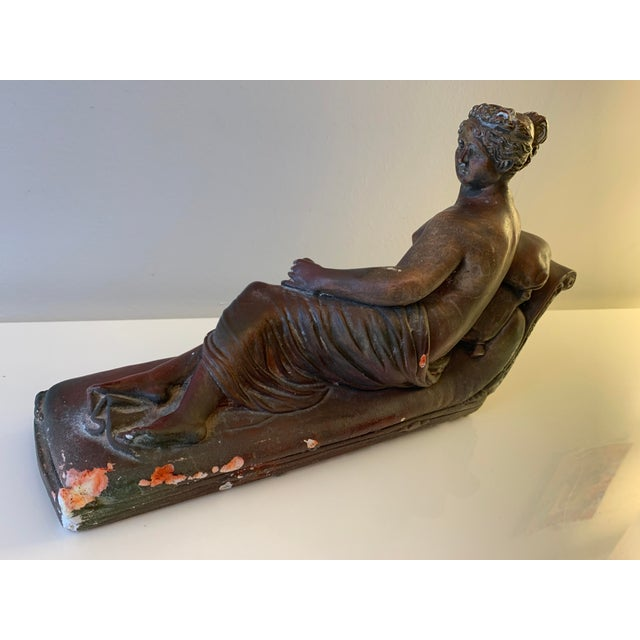 Mid 20th Century Plaster Reclining Female Figure Sculpture For Sale - Image 5 of 12