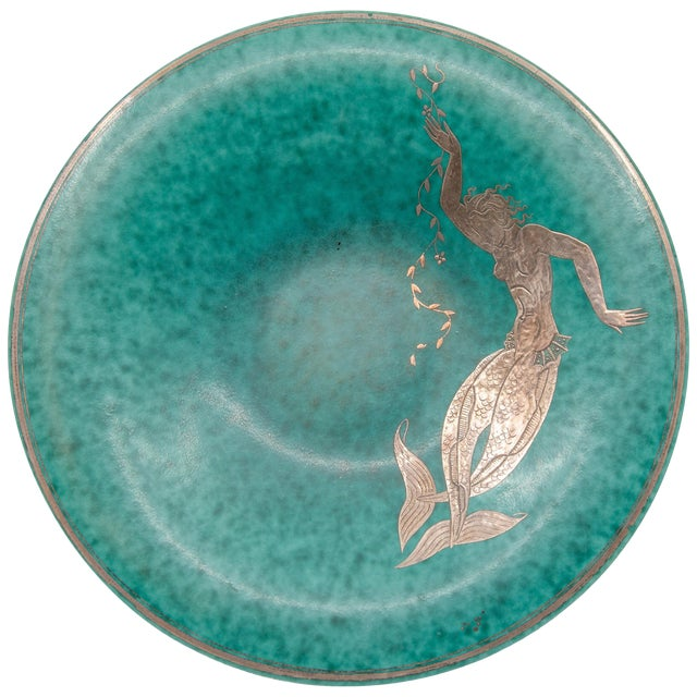 Gustavsberg Argenta Silver Overlay Mermaid Design Charger Plate For Sale