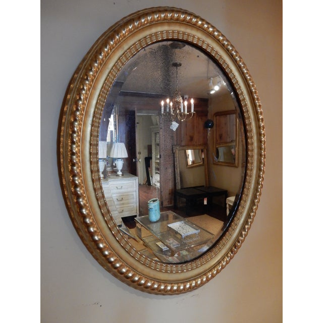Traditional Oval 19th Century Italian Gilt Mirror For Sale - Image 3 of 7