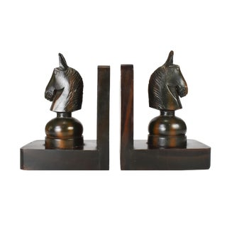 Mid 20th Century Hand Carved Wooden Horse Head Knight Chess Bookends - a Pair For Sale