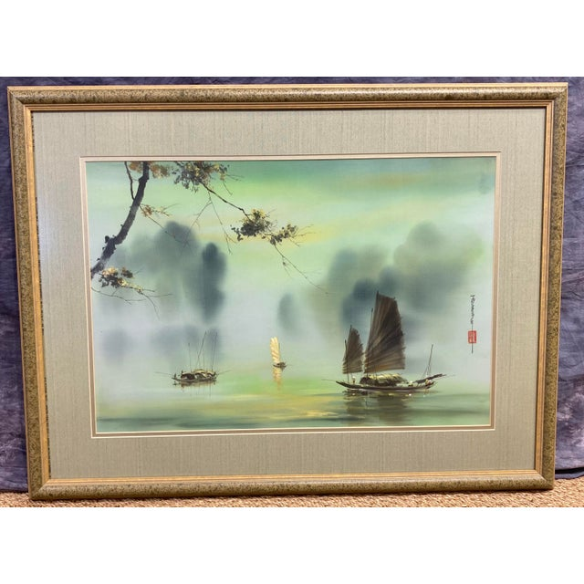 Harbor Scene Signed Painting on Silk For Sale - Image 12 of 12