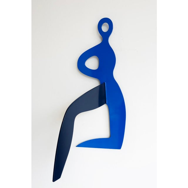 Navy Blue Runner's Stretch -Stainless Steel Wall Sculpture For Sale - Image 8 of 9