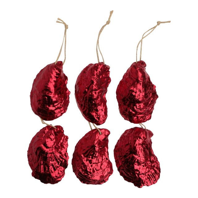 Red Gilded Oyster Shell Ornaments, Set of 6 For Sale