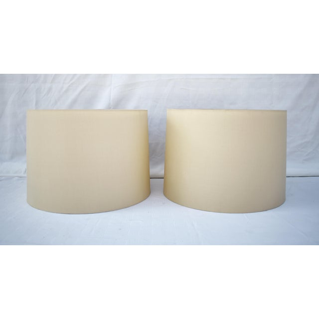 Ivory Silk Drum Shades W/Diffusers - a Pair For Sale - Image 4 of 4