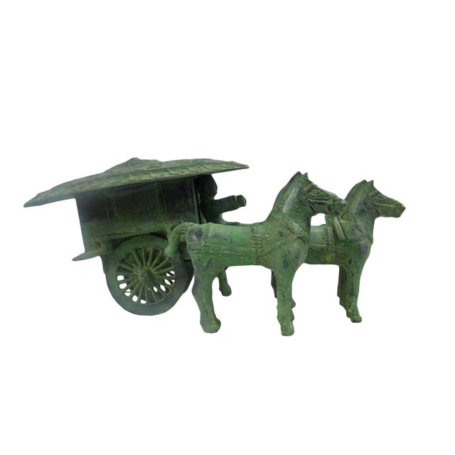 Ancient Style Chinese Green Bronze-Ware Warrior Horse Wagon Display For Sale