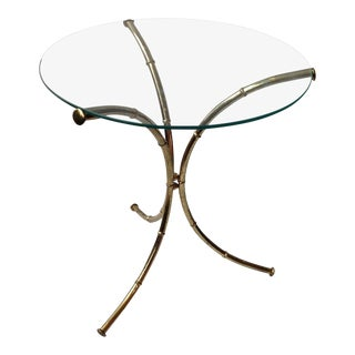 Vintage Faux Bamboo Brass Glass-Top Table
