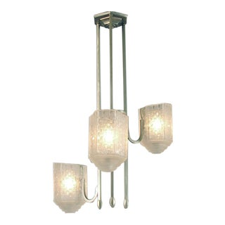 da1a57072246 Asymmetrical French Art Deco Three-Light Chandelier With Super Glass For  Sale