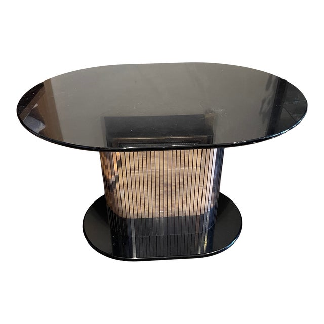 Vintage 1970s Oval Black Lacquered Table With Mirrored Panel Pedestal For Sale