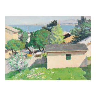 Bay Area Neighborhood With Trees, Oil on Canvas, Circa 1989 For Sale