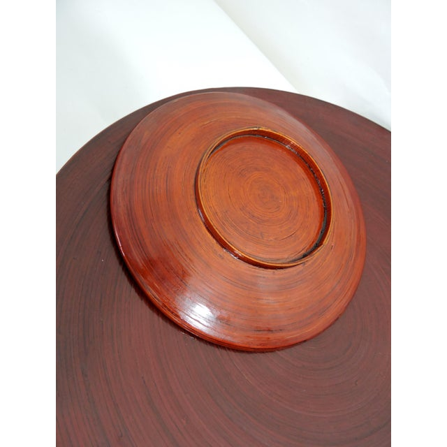 Asian Vintage Burmese Red Lacquer & Bamboo Plates and Charger - Set of 7 For Sale - Image 3 of 10