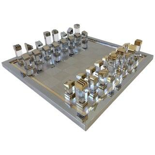 Rare Chrome and Brass Italian Chess Set by Romeo Rega