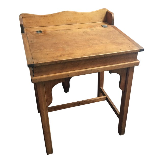 Antique Country Pine Slant Top Children's School Desk - Image 1 of 11