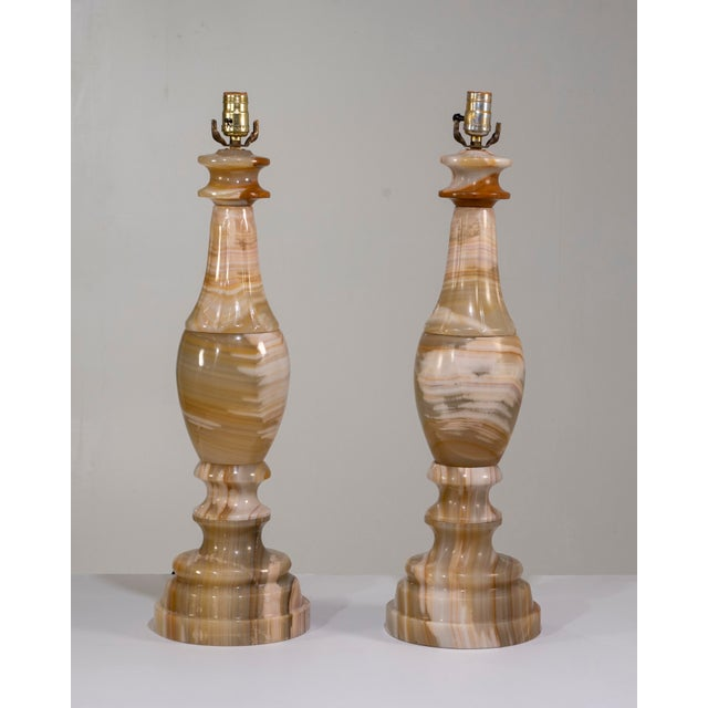 1960s Large Scale Neoclassical Onyx Table Lamps - a Pair For Sale - Image 13 of 13