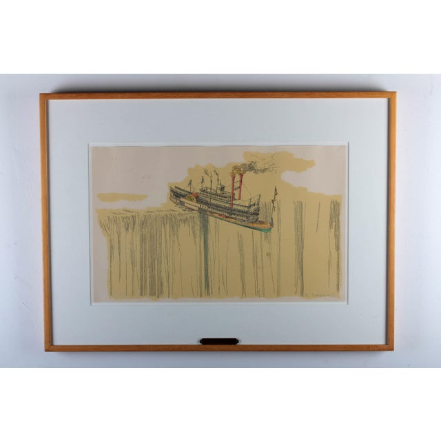 "1960's Lithograph ""Riverboat"" (1967) by William Richard Crutchfield For Sale - Image 4 of 10"
