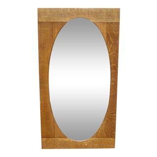 Antique Arts & Crafts Mission Solid Oak Square Framed Oval Beveled Mirror For Sale