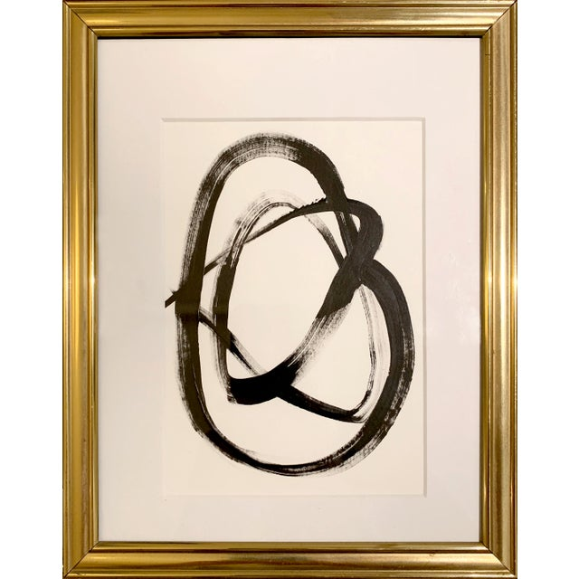 Original Abstract Black and White Painting in Vintage Gold Frame For Sale - Image 4 of 4