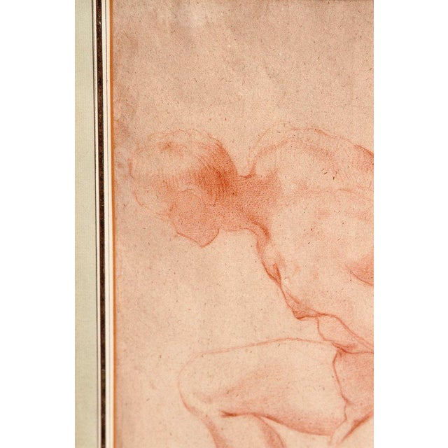 Figurative 19th Century Continental Red Chalk Drawing, Figure Study For Sale - Image 3 of 12