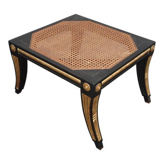 Vintage French Black & Gold Cane Ottoman No Cushion For Sale