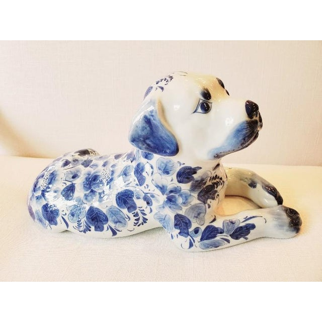 Ceramic Blue and White Porcelain Dog Sculpture For Sale - Image 7 of 7