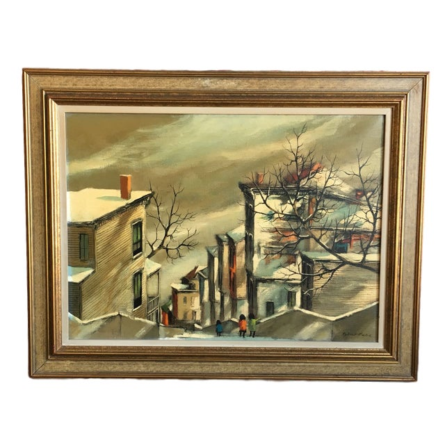 "Robert Fabe ""View From the Steps"" Tempera on Canvas Painting For Sale - Image 11 of 11"